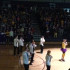 "Teachers perform a dance to the song ""What does the fox say?"" at the basketball homecoming pep rally last Friday."
