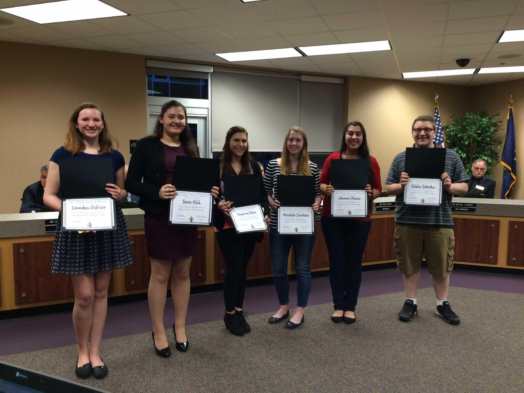Journalism students were honored at the board meeting last week.