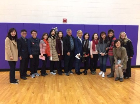 Korean students from PNW visiting Hobart High with Peggy Buffington.